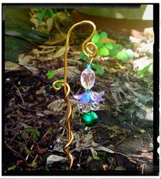 Miniature Fairy Garden Wind Chime Bell With Flowers on Sturdy