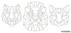 Vectorial: Animal icono de cabeza triangular, diseño de la línea de moda geométrica. Ilustración del vector lista para el tatuaje o libro para colorear. León, tigre, puma.