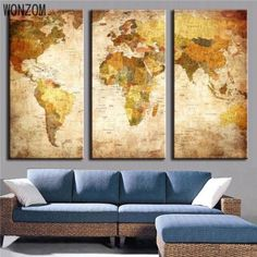 Cheap print on canvas buy quality painting print directly from cheap print on canvas buy quality painting print directly from china picture for living room suppliers 3 panel vintage world map canvas painting gumiabroncs Images