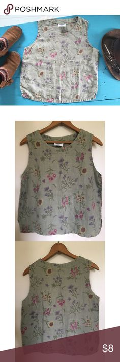 """Floral tank 🌻 nature fairy 🌸 flower child linen For those gardeners, flower children nature lovers & woodland fairy ladies. Wonderful linen fabric. 🌿 pretty random flowers. Very earthy vibe. Comfy. Dress up or down. 🌷MEASUREMENTS 🌼 laying flat ::                 21"""" long :: 19"""" wide  // 100% cotton + made in USA bay street clothing co. Tops Tank Tops"""