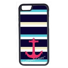 CellPowerCasesTM Large Nautical Stripes Anchor iPhone 6 (4.7)... ($13) ❤ liked on Polyvore featuring accessories, tech accessories and black