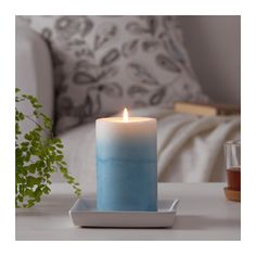 ESTIMERA Scented block candle, Blossoming jasmine, blue