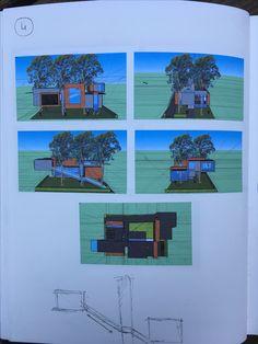 SketchUp ontwerp 4e idee (schuine trap aan zijkant ontwerp + meer variërende ruimtes).
