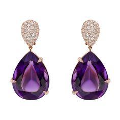 Betteridge Collection Amethyst & Pavé Diamond Drop Earrings - STUNNING. The single-cut diamond tops are so fabulous it KILLS me.