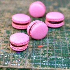 Raspberry chocolate macarons