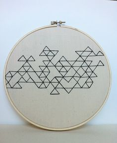 Geometric Triangle Embroidery Art, Black On Natural Linen. $30.00, via Etsy.