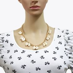 Shell Necklace Lady Fashion Jewelry Necklace Vacation Accessories (Gold)