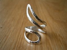Silver Ring Freeform Stylized Snake Hammered Ring Handmade