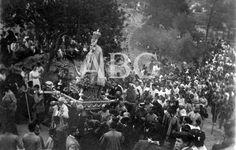 Murcia, 17/09/1912. Fiestas religiosas. Las inmediaciones del Santuario de Nuestra Señora de la Fuensanta durante la procesión de la Virgen