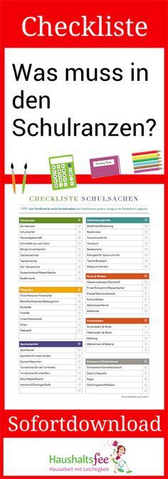 Die Checkliste Schulsachen hilft zum einen dabei, beim Packen des Schulranzens nichts zu vergessen. Ob Schulbücher, Blöcke, Taschenrechner oder das Pausenbrot, all diese Dinge können hier abgehakt werden. Aber auch wenn es beispielsweise um den Sportunterricht oder die richtige Ausstattung des Kinderzimmers für die Ansprüche des Schulkindes geht, wird auf der Checkliste alles Wichtige aufgeführt.