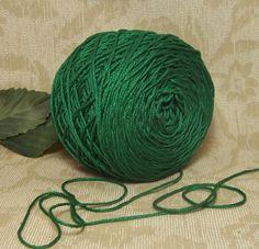 Gorgeous Dark Green 100% Cotton Yarn, Crochet Thread, Nice Sheen, Cotton Yarn,  BIN 18 by RecycleandRepurpose on Etsy
