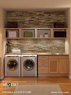 Organized laundry with brick backsplash.love the brick backsplash. It would make doing laundry a lot more enjoyable! Plus who doesn't love a sink in your laundry room? Farmhouse Laundry Room, Laundry In Bathroom, Small Laundry, Basement Laundry, Laundry Area, Bathroom Plumbing, Laundry Decor, Basement Bathroom, Laundry Room Ideas Garage