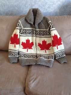 cowichan salish cardigan sweater knitting colourwork inspiration maple leaf