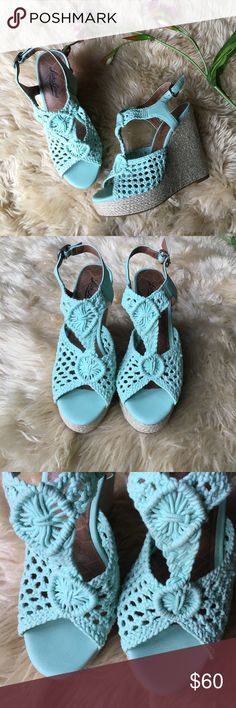 "Lucky Brand Espadrilles Wedge Platform Sandal Lucky Brand Espadrilles Wedge Platform Sandal. Size 6 1/2, light turquoise, crocheted fabric. Sticker still on bottom, new without tags's. 4.5"" heel, and 1"" wedge. Lucky Brand Shoes Espadrilles"