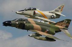 F-4 Phantom with an A-4 Skyhawk.