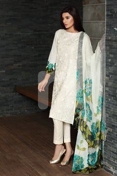 White Thread work kurta and pencil cut bottom.. #office wear  at http://mytailor.in/