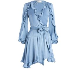 ZIMMERMANN Winsome Flutter Robe Dress ($430) ❤ liked on Polyvore featuring dresses, blue, zimmermann, ruffle wrap dress, long blue dress, wrap dress, sleeved dresses and ruffle dress