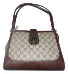 4b88f57cb3f Gucci Rare Style Early High-end Bohemian Gold Enamel Snap Two Strap Satchel  in shades of brown with large G logo print