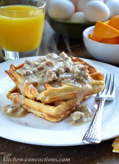 Buttermilk Biscuit Waffles with Creamy Sausage Gravy - Kitchen Concoctions