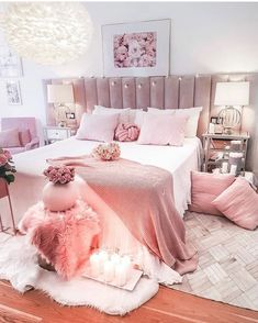 pink room decor Happy Sunday hope everyone had a great day! Make sure to joi. Bedroom Decor For Teen Girls, Cute Bedroom Ideas, Room Ideas Bedroom, Bedroom Wall, Diy Bedroom, Teen Bedroom, Shabby Bedroom, Wall Beds, Teen Decor