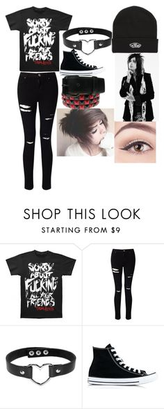 """Falling in reverse outfit"" by emobandtrashfangirl ❤ liked on Polyvore featuring Miss Selfridge, Converse and Vans"