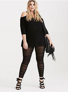 """These leggings have been sent from the future, to save your closet from basic-ness. The black knit top is all tummy-smoothing comfort, while the sheer mesh insets from thigh to ankle are from the not-so-distant style future. Ruching along the sides play up your proportions; you'll never look back.<div><br></div><div><b>Model is 5'10"""", size 1<br></b><div><ul><li style=""""list-style-position: inside !important; list-style-type: disc !important"""">26"""" inseam</li><li style=""""list-style-positi"""