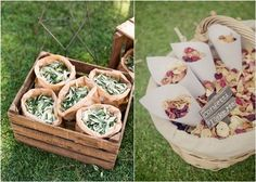 Throwing rice at the newlyweds is an old and merry tradition but what if you don't want rice? Get some creative alternatives! Flower petals andgreenery are a great romantic and eco-friendly idea for any wedding, choo...