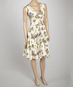 Look at this Aryeh Purple Floral V-Neck Dress on #zulily today!
