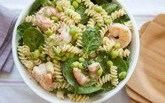 Dilled Shrimp Pasta Salad recipe: Recipe from Whole Foods. This zesty pasta salad is full of protein and vitamins. Use whole wheat pasta to make this recipe even more healthy. How To Cook Shrimp, How To Cook Pasta, Unique Pasta Salad, Pasta With Mayonnaise, Whole Food Recipes, Healthy Recipes, Fish Recipes, Seafood Recipes, Shrimp Pasta