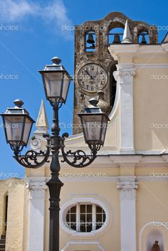 Capri, Italy - church bells, clock and streetlights.