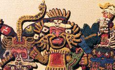 """Detail with face ornament, figure 63, Nasca, Mantle (""""The Paracas Textile""""), 100-300 C.E., cotton, camelid fiber, 58-1/4 x 24-1/2 inches / 148 x 62.2 cm, found South Coast, Paracas, Peru (Brooklyn Museum)"""