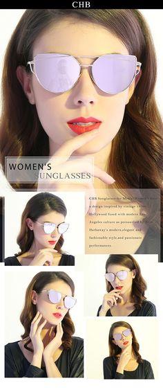 270df60cfdb CHB Women s HD Mirrored Cateye Lens Creative Metal Frame Street Fashion  Designer Polarized Sunglasses UV400 with Case-Gold(pink lens) -  18.98    www.chb.us. ...