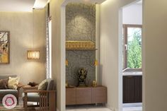 When looking for pooja room lights, consider using focus lighting, especially for contemporary homes Pooja Room Door Design, Room Interior Design, Living Room Interior, Living Room Decor, Interior Designing, Temple Design For Home, Mandir Design, Indian Interiors, Puja Room