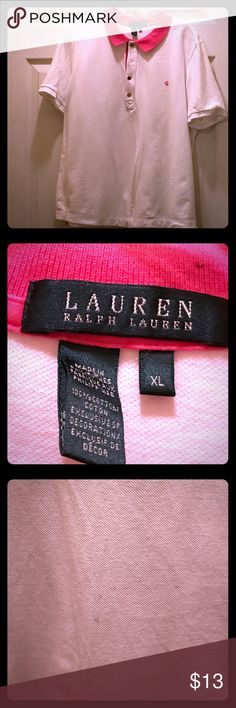White, pink collar and signature Lauren shirt Great preowned condition. Very small spots on front as shown in pic, barely noticeable. Great buy otherwise!!! Gold buttons Lauren Ralph Lauren Tops