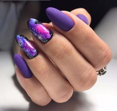 Space nail art Colourful Black and purple Galaxy Purple Nail Designs, New Nail Designs, Acrylic Nail Designs, Matte Nails, Acrylic Nails, Gel Nails, Gradient Nails, Black And Purple Nails, Purple Nail Art