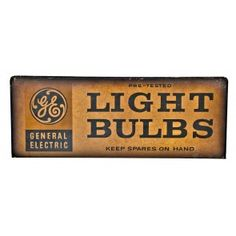 "double-sided late 1930's lithographed steel ""light bulbs"" hardware store general electric display sign with naturally aged surface patina"