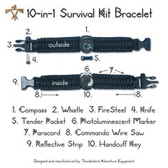10-in-1 Survival Kit Bracelet: Compass, Whistle, FireSteel, Knife, Tender, Light, Paracord, Saw, Mirror, & Handcuff Key. $65.00, via Etsy.