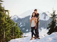 snow capped mountain engagement photos.  @RyanFlynnPhoto www.ryanflynnphotography.net http://greenweddingshoes.com/adventurous-engagement-shoot-in-the-mountains-kate-adam/pacific