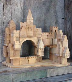 67 piece Starter Castle block set Unfinished arranged horizontally