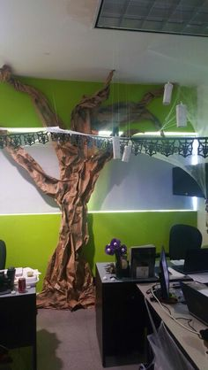 Halloween decor for your office. Spooky forest, halloween in the woods