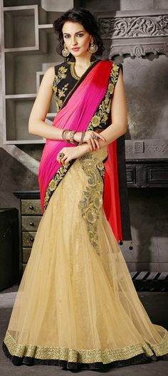 LEHENGA STYLE SAREE: Brides, have a look!   Shop this at flat 10% off + free shipping. #IndianWedding #Colorblock #bridalwear #saree #partywear #onlineshopping
