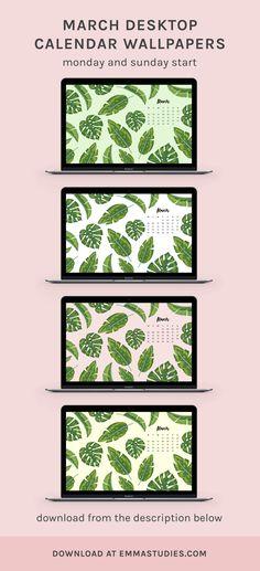 march desktop calendar wallpaper tropical leaves