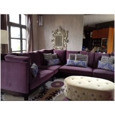 Re Upholstered Plum Velvet Sofa And Sand Ottoman With Nailhead Flower Motif