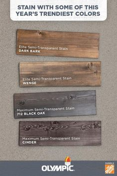 Wood Stain Colors - Interior & Exterior Wood Stain Colors For Any Project Deck Stain Colors, Deck Colors, Wood Colors, House Colors, Cabinet Stain Colors, Paint Colors, Semi Transparent Stain, Exterior Stain, Exterior Shutters