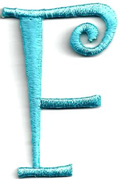 "Amazon.com: [Single Count] Custom and Unique (1 3/4"" to 2"" Inches) American Alphabet Letters Swirl Script Thin Capital Letter F Iron On Embroidered Applique Patch {Blue Color}: Arts, Crafts & Sewing"
