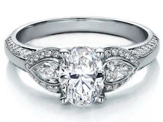 Oval Diamond Engagement Ring Pear side stones in 14K White Gold