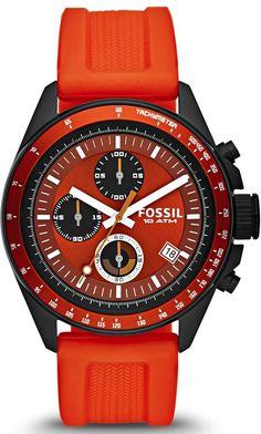 Capri Jewelers Arizona  ~  www.caprijewelersaz.com #Fossil #Watch , Decker Chronograph Silicone Watch - Orange CH2877