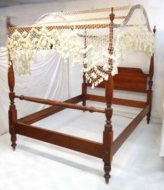 Antique Cherry Four Poster Full Size Canopy Bed Jenny Lind