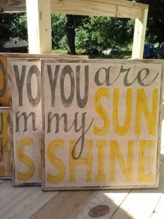 LARGE You Are My Sunshine handpainted signs via Etsy