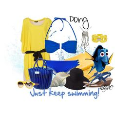 """""""Dory Swimsuit / Beach Outfit - Pixar's Finding Nemo"""" by rubytyra on Polyvore"""